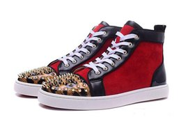 Wholesale Pointed Toe Leopard Flats - New 2018 wholesale New mens gloden spikes leopard toe with red suede red bottom high top sneakers,designer brand top quality flat causal sho