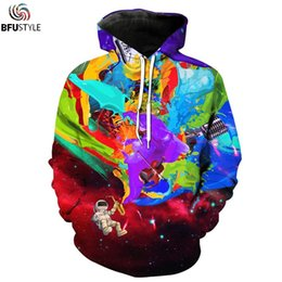 Wholesale Mens Galaxy - Wholesale- New Fashion Mens Hoodies Sweatshirt 2017 Astronaut Space Galaxy 3D Hoodie Casual Tracksuits hoody Tops With Pockets Dropship