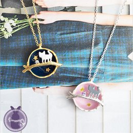 Wholesale Moon Globe - whole saleCute Pink Blue Planet Sailor Moon Necklaces for Women Girl Globe Cat Charm Long Necklace Cosplay Jewelry Collar 2017