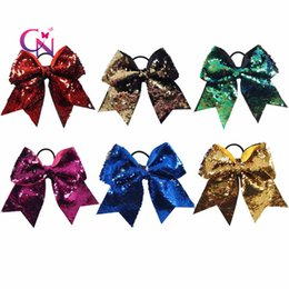 """Wholesale Fabric Ponytail Holders - 7"""" Reversible Mermaid Two Tone Sequin Cheer Bow With Ponytail Holder Girl Kids Handmade Large Bling Fish Scale Fabric"""