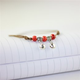 Wholesale ethnic charms beads - Ethnic Foot Jewelry Anklets For Women Girls Ankle Leg Chain Charm Ceramic Beads Anklets with Bell Fashion Beach Jewelry