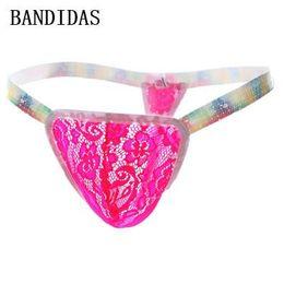 Wholesale Transparent Mens Thong - Cueca Sexy Jockstrap Gay Underwear Tanga Hombre Men Transparent Lace Strings Slip Sexy Erotic Homens Mens Thongs and G Strings