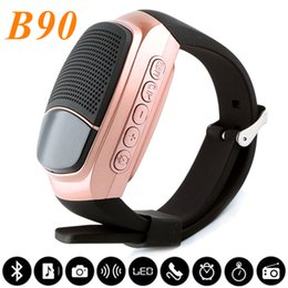 Wholesale Outdoor Home Speakers - B90 Smart Watch Wireless Speaker Stopwatch Support TF Card Hands-free FM Radio Anti-Lost Alarm Bluetooth Speaker With Retail Package