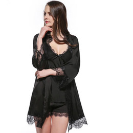 6cf627676e Wholesale- sexy women s bathrobe + pajamas set three pieces short pants  summer sleepwear high quality lace satin silk nightwear high gr