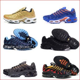 Wholesale Sneakers Mens Brands - Discount Brand Sports Running Shoes New Air Cushion TN Men Black White Red Mens Runner Sneakers Man Trainers Tennis Shoes