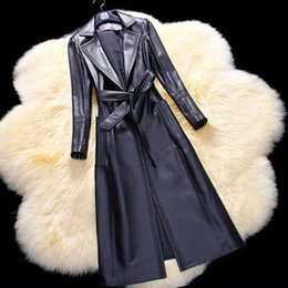 Wholesale genuine sheepskin jackets - Sheepskin Leather Spring Jacket For Women Fashion Business Coat Genuine Leather Trench For Lady Natural Leather Overcoat Clothes
