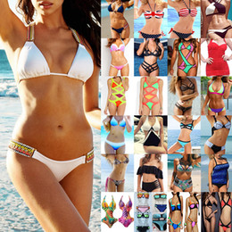 Wholesale Ladies Two Piece Bathing Suit - Summer Bikini Set Swimwear for Women Ladies Two Piece Swimsuit High Out Strappy Bathing Suit Mix Colors High Quality Clothing
