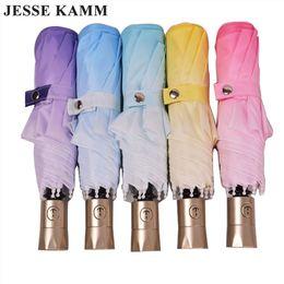 guarda-chuvas femininas Desconto Guarda-chuva totalmente automático guarda-chuva gradiente de cor sol dobrável protetor solar anti-uv proteção automática das mulheres