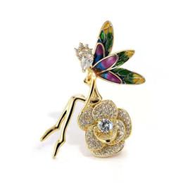 Broches de hadas online-Mujeres encantadoras prendedores broches chapados en oro amarillo CZ Fairy Angle broche vestido pernos para niñas mujeres para la boda de la boda bonito regalo