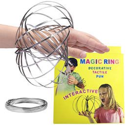 Wholesale Ring Toys - Toroflux Flow Rings 5 INCH Stainless Steel Kinetic Spring Metal SUS 304 Toroflux Magic Flow Ring 3D Sculpture Ring Interactive Toys For Kids