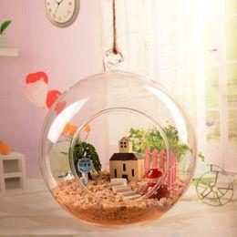 2019 appesi vasi di vetro rotondi Appeso rotonda vetro trasparente piastre a sfera Mini vaso creativo fiore Decor Hanging Apparatus Decorazione di nozze Home decor appesi vasi di vetro rotondi economici