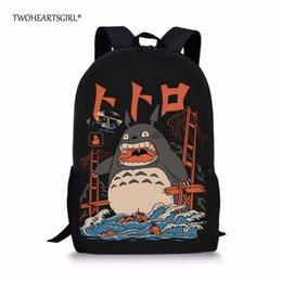 Totoro saco infantil on-line-Twoheartsgirl Anime Meu Vizinho Totoro Saco de Escola para Meninas Bonitos Crianças Crianças Japonesas Mochilas Dos Desenhos Animados Sacos de Livro de Criança