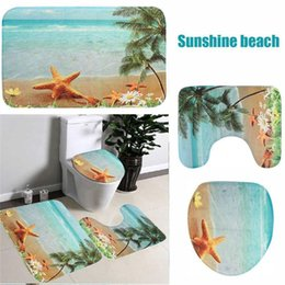 Wholesale Modern Textile Design - Wholesale-3pcs Set Sea Blue Pedestal Rug + Lid Toilet Cover + Bath Mat Carpet Bathroom Set Sea Beach Design Carpet for Home Bathroom Decor
