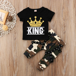 Wholesale King Baby Wholesale - Summer Baby Boy Clothes Black King Printed T shirt + Camouflage Pants 2PCS Baby Kids Clothing Boys Set Children Clothing Boys Outfits