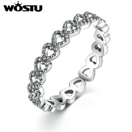 Wholesale Gold Stackable Ring Set - whole saleWOSTU Hot Selling Silver Stackable Forever Heart Love Rings For Women Original Brand Ring Jewelry Gift FB7218