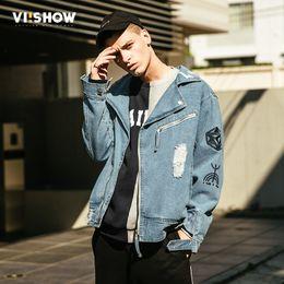 куртка вишоу Скидка VIISHOW 2018 новая осенняя мода джинсовая куртка мужчины повседневная джинсы пальто верхняя одежда хлопок Slim Fit Марка Мужская одежда JC2036173