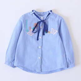 Wholesale Kids Embroidered T Shirts - Everweekend Kids Girls Western Fashion New Stripe Bow T-shirt Spring Autumn Cute Embroidered Butterfly Tee Tops Blouse