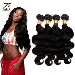 Wholesale Human Hair Weave Malaysia - 7A Indian Hair Extensions Natural Black Peruvian Malaysia Brazilian Virgin Hair Bundles Body Wave Human Hair Weave