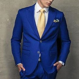 new stylish three piece suit images Coupons - New Stylish Design Groom Tuxedos Two Button Royal Blue Peak Lapel Groomsmen Best Man Suit Mens Wedding Suits (Jacket+Pants+Tie) 602
