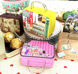 Wholesale Vintage Tin Storage Box - Wholesale Vintage Suitcase Shape Candy Storage Box Wedding Favor Tin Box Sundries Organizer Container Small Decoration
