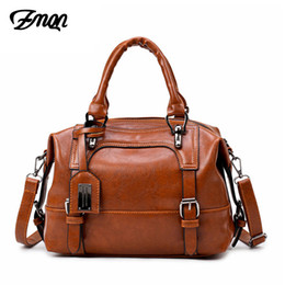 Wholesale cheap leather crossbody bags - ZMQN Crossbody Bags For Women 2018 Vintage Shoulder Bag Of Women Handbag Soft Leather Boston Cheap Bag Bolsa Feminina C608