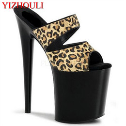 Sexy Leopard Print 20cm Temptation Slippers Ultra High Thin Heels Platform  8 Inch Shoes Sexy Stripper Shoes 3713a444dc08