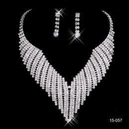 Wholesale Hot Necklaces - Cheap New Ship Hot Sale Holy White Rhinestone Crystal Flower Earring Necklace Set Bridal Party Wear