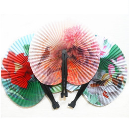 Wholesale paper chinese folding fans - Chinese Folding Hand Paper Fans for Event Party Supplies Wedding Home Decoration Crafts Girl Dancing Fan QW7518