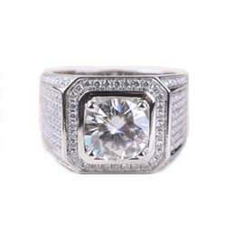 Wholesale white topaz rings sterling silver - Stunning Handmade Fashion Jewelry 925 Sterling Silver Popular Round Cut White Topaz CZ Diamond Full Gemstones Men Wedding Band Ring Gift