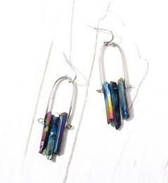 Wholesale Designer Jewelry Earrings - 2018 NEW charm earings Natural stone crystal Hexagonal tassel earrings designer earrings women Pendant long earrings Crystal Jewelry 105