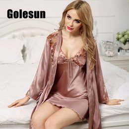 9b6cc22138e8 sleepwear sleep dress Promo Codes - spring and autumn women s nightgown sexy  royal sleepwear V-