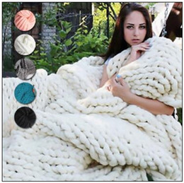 Wholesale wholesale acrylic blankets - 20 Colors 60*60cm Chunky Knit Blankets Merino Wool Handmade Blanket Sofa Air Condition Bed Weave Knitted Photography Blankets CCA8464 20pcs