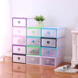 Wholesale transparent plastic shoe storage boxes - 6 Colors Optional Plastic Shoe Boxes Drawer Type Thicken Storage Box Stackable Foldable Rectangle Bins Transparent Case NNA379