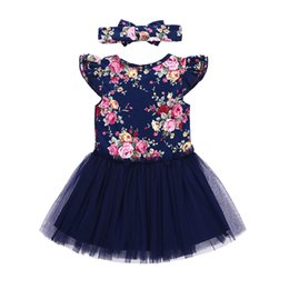Wholesale lace girls boutique dress - Baby Girls Dresses New Floral Tulle Princess Dress + Headband 2 pcs Fashion Summer Girl Kids Dresses Boutique Clothes