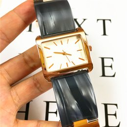 Пластиковая розовая полоса онлайн-роскошные GUEthinks часы женщина кварцевый пластиковый ремешок леди Стальной браслет высокое качество прямоугольник циферблат розовое золото 15 шт. DHL бесплатная Япония движение