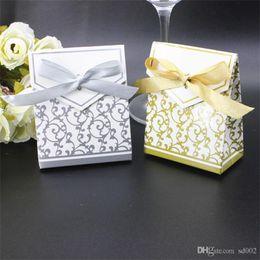 papier d'emballage en argent Promotion Mariage romantique Boîtes De Bonbons Ruban Argent Parti Cadeau Sac De Papier De Conception De Luxe Cookies Wrap Sacs Nouveau 0 17kt ZZ
