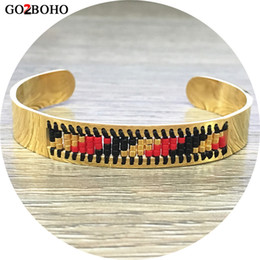 Wholesale Weave Suppliers - Go2boho Dropshipping Supplier Ethnic Bracelet Cuff Bracelets Gold Stainless Steel MIYUKI Seed Bead Bangle Weave Jewelry Gifts