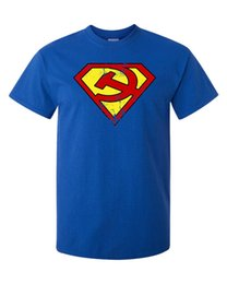 Супер героя онлайн-Супермен логотип футболка пародия коммунист Маркс Ленин Сталин революция супер герой печатных футболка лето мужская