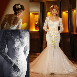Wholesale lace islamic wedding dresses - Arabic Islamic Long Sleeves Lace Wedding Dresses 2018 Sheer Appliques Mermaid Scoop Neckline Bride Gowns with Button Covered Back