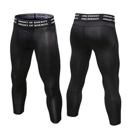 Wholesale Mens Black Spandex Pants - 2017 New Mens 3 4 Leggings Gym 3 4 Leggings New Compression Sports Tights Sweat Pants For Men Running Quick Dry Sport swear