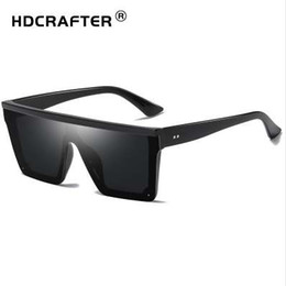 Hdcrafter lunettes de soleil en Ligne-HDCRAFTER Retro Square Sunglasses Flat top Design Men Sunglasses Driving Outdoor Sport Sun Glass