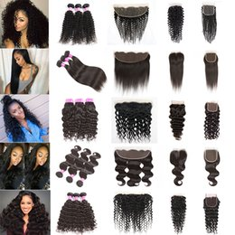 Wholesale Lace Front Closures Wholesale - Peruvian Hair Bundles with Closure Straight Body Wave Hair Weave U Deserve Lace Front Deep Water Human Hair Kinky Curly Bundles with Frontal
