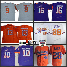 3db77204c Mens Clemson Tigers 9 Travis Etienne Jr 13 Hunter Renfrow 16 Trevor  Lawrence 28 beer Boulware 2018 NCAA Championship College Football Jersey  purple football ...