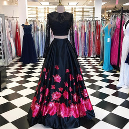 Wholesale Printed Satin Prom Dresses - Two Pieces Long Sleeves Flower Printed Floor Length Evening Dresses Lace Satin Formal Evening Gowns Long Party Prom Dress Custom Made
