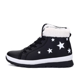 Wholesale British Sneakers - Brand winter boots women star black outdoor waterproof plus cashmere warm sneakers British style high-top shoes slip boots