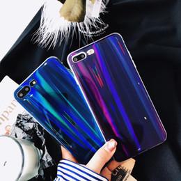 Étui arc-en-ciel iphone bleu en Ligne-Brillant Blu-ray logement couvercle laser TPU Shell violet lumière téléphone cas Rainbow Blue Ray pour iPhone X 5 6 6 S 7 8