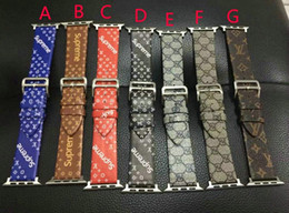 Wholesale watches stripes - Luxury Brand Leather Watchbands for Apple Watch Band 42mm 38mm iwatch 1 2 3 bands Leather Strap Sports Bracelet New Fashion Stripes