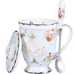 Чашка чая и крышка и ложка комплект королевской тонкой кости фарфора кофе кружка 11oz светло-голубые чашки подарок для женщин мама подарочной коробке . от