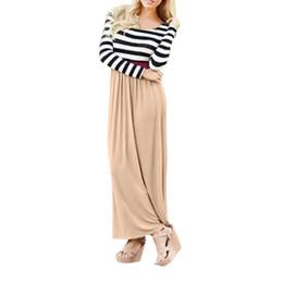 Línea de vestir madre hijo online-Otoño mami yo las mujeres de manga larga con estampado de rayas de costura de impresión vestido de ropa de maternidad de estilo infantil vestido de madre