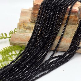 Wholesale Loose Tourmaline - Natural Bright Quality Natural Black Spinel Faceted Loose Rondelle Beads 3x2mm